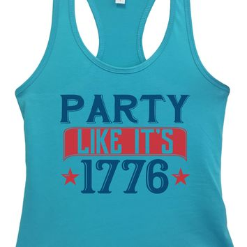 Womens Party Like It'S 1776 Grapahic Design Fitted Tank Top
