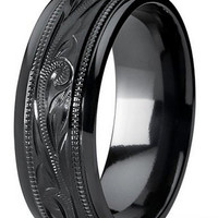 Mens 8mm Black Titanium Ring With Floral Hand Engraved Design