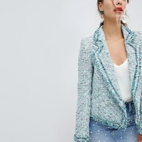 River Island Boucle Embellished Blazer at asos.com