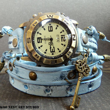 Ocean Blue Wrap around Watch, Womens leather watch, Bracelet Watch, Chain Wrist Watch, Distressed Fashion Watch