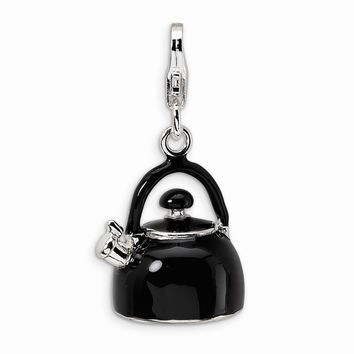 Sterling Silver 3-D Enameled Black Tea Kettle w/Lobster Claw Clasp Charm