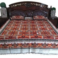 Indi Tapestry Coverlet- 3pc Handloom Cotton Bedding Bedspreads Boho Decor