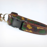 "Cat Collar - ""Commando"" - Camouflage Green, Brown & Black"