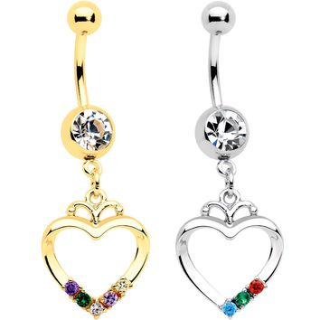Clear Gem Gold PVD BFF Heart Dangle Belly Ring Set of 2