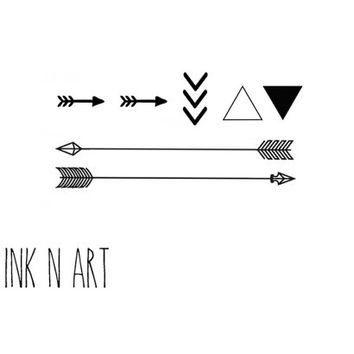 7pcs Set Triangle Chevron Arrow tattoo - InknArt Temporary Tattoo Set -  gift pack tattoo collection quote wrist neck ankle body