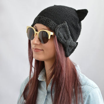 Black Cat Hat, Knit Cat Ear Hat or Cat Beanie, Womens Cat Hat, Womens Hats, Cat Ear Beanie with Bow