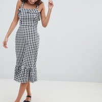 ASOS DESIGN Gingham Square Neck Pephem Midi Sundress at asos.com