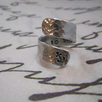 I Refuse to Sink Ring, Anchor, Anchor ring, Secret Message Ring, Hammered ring, Aluminum ring, Fathers day, Graduation