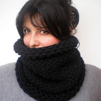 Black Double Spirit Cowl Super Soft Mixed Cashmere Neckwarmer Unisex Double Face Reversible Chunky Big Cowl