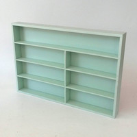Essential Oil Display Mint Hanging Wall Shelf or Nail Polish Rack Countertop Freestanding Vintage Wood Beauty Salon Shot Glass Shelves Cubby