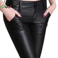 {Guoran} plus size women stretch leather pants 2015 winter new fleece warm black trousers ladies faux leather pencil pants femme