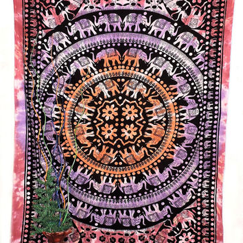Elephant mandala tapestry indigo wall hanging bed spread bed sheet yoga sheet ,indian tapestry table cover curtains screen printed tapestry