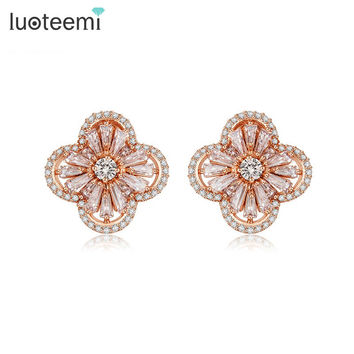 LUOTEEMI New Arrival Hot Trendy Delicate Sweet Acrylic Flower Stud Earrings Personalized Jewelry Statement Accessories For Women