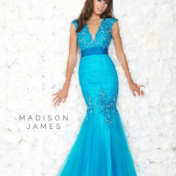 Madison James 15-147 In Stock Turquoise Size 8 V Neck Mermaid Prom Dress