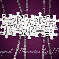 Family Name Necklaces - Hand Stamped Stainless Steel Necklace Set - Interlocking Puzzle Piece - Personalized - Sisters, Best Friends, Cousin