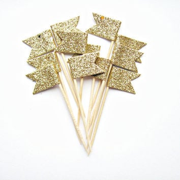 12 Gold Glitter Flag Cupcake Toppers - Washi Tape Cupcake Toppers, wedding, engagement, birthday, baby shower, tea party