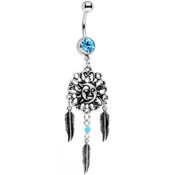 Aqua Gem Sun and Moon Feather Celestial Daydream Dangle Belly Ring