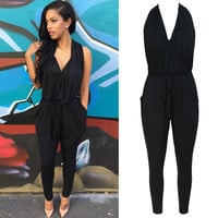 Black Backless Pocket Design Harem Jumpsuit
