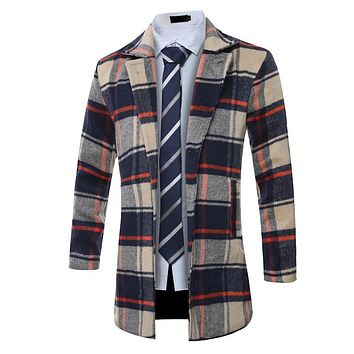 man autumn and winter long stylr plaid woolen coat