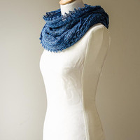 Silk knitted cowl, silk möbius scarf, silk cowl, snood, knitted wrap, blue colour hand dyed yarn 'Tuck'