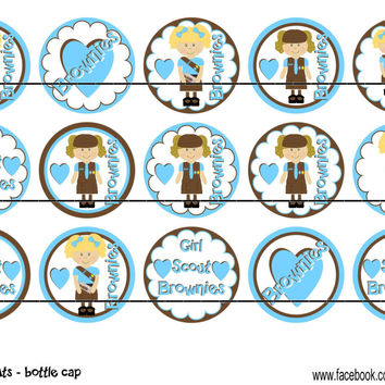 """Brownie Scouts Bottle Cap Images 1"""" Circles Instant Download Digital Emailed 4x6"""