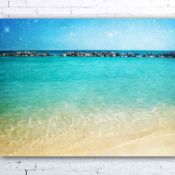 Blue Curaçao - Fine Art Photograph, caribbean sea photo, cabana beach willemstad curacao, tropical ocean decor, turquoise, aqua ocean water