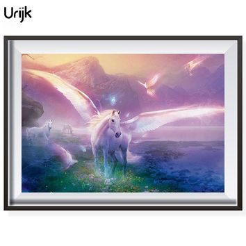 Urijk Brand DIY Oil Paintings By Numbers Horse Patterns Wall Arts Without Frame Pictures By Numbers On Canvas 40*50cm