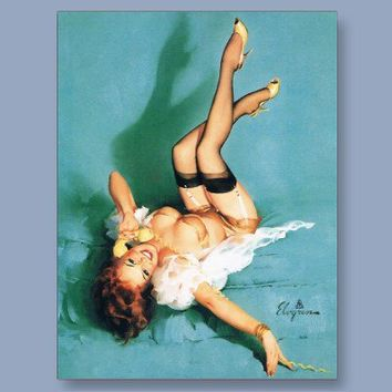 On the Phone - Vintage Pin Up Girl Postcard from Zazzle.com