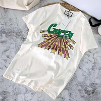 GUCCI 2019 new ribbons star print men and women round neck half sleeve t-shirt white