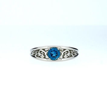 London blue topaz ring, filigree engagement ring, white gold, solitaire, blue topaz engagement, lace ring, wedding ring, blue, teal filigree