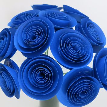 "Royal Blue Paper flowers with stems for vase one dozen 1.5"" blue roses birthday party centerpieces, home decor, wedding decorations, or gift ideas"