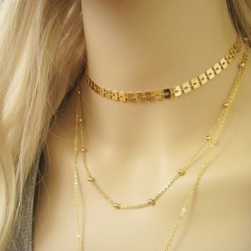 Gold Chain Choker / Short Minimal Necklace / Gold Collar Choker / Minimalistic Jewelry / Statement / Chain Necklace / N289