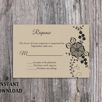 DIY Lace Wedding RSVP Template Editable Word File Instant Download Burlap Rsvp Template Printable Vintage Rsvp Floral RSVP Card Rustic Rsvp