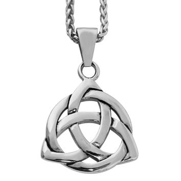 """Evelots Mens Stainless Steel Celtic Knot Irish Triquetra Pendant Necklace, 24"""""""