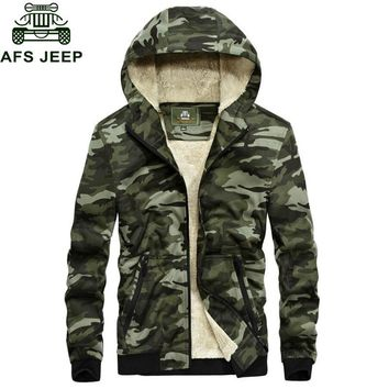 Trendy Afs Jeep Brand Winter Jacket Men Camouflage Military Jacket Men Wool Liner Warm Hooded Coat For Men Outwear Winter Male Jacket AT_94_13