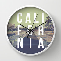 California on the Tracks Again Wall Clock by Krystal Nicole
