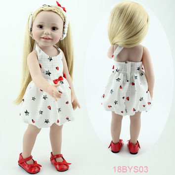 New design 2016 Cute Super Simulation Lifelike american Vinyl 18 inch Baby Doll princess Girl toy gift for children smiling girl