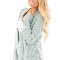 Pastel Blue Knit Cardigan with Pockets and Lace Up Detail