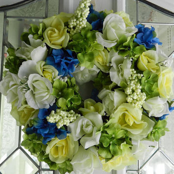 Spring/Summer Wedding/ wreath/ centerpiece Artificial Blue and Green Hydrangeas with White and Yellow Roses