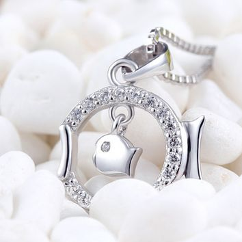 Double Fish Pendant Necklace  - 925 Sterling Silver
