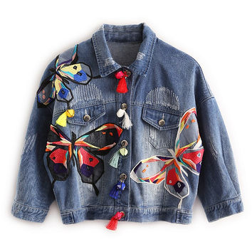 Colorful Butterfly Embroidery Jean Jacket with Tassel Short