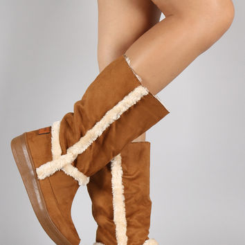 Suede Faux Fur Trim Mid Calf Snow Boots