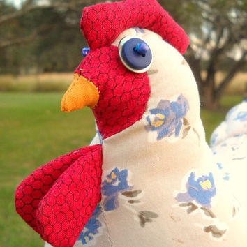 "CIJ SALE - Chicken doll doorstop made to order - ""Abigail""  blue & cream calico, quilted wings and tail, rick rack braid trim"