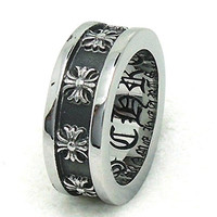 Mens Womens Stainless Steel Finger Rings Vintage Cross Pattern Size 8 - Adisaer Jewelry