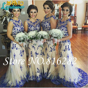 Charming Blue 2016 Bridesmaid Dresses Ruffles Floor-Length Sheer Strap Embroidery Formal Maid of Honor Bridal Gowns Plus Size