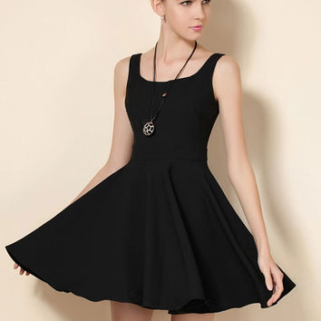 Black Sleeveless Sheath Mini A-Line Skater Dress