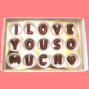 I Love You So Much Large Milk Chocolate Letters Anniversary Valentines Day Gift for Boyfriend Him Her Man