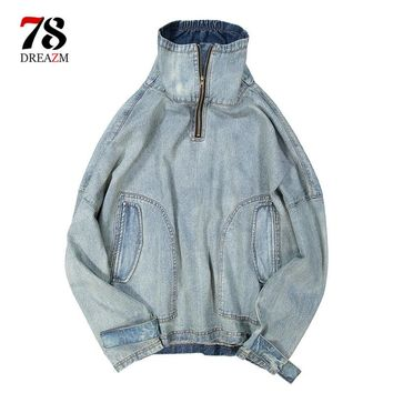 Men Cool Jacket Windbreaker Hip Hop Thin Jacket Stand Collar Pullover Over sized Gray Track Street wear