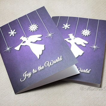Christmas Card, Set of 2, Joy To The World, Angel Trumpet, Bible Verse, Religious Card, Holiday Gift, Romans 15:13