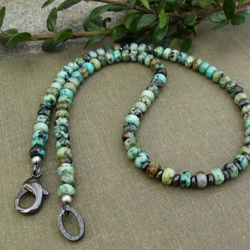 Men's African Turquoise Necklace, Karen Hill Tribe Silver, Jasper, Gunmetal, Turquoise Jewelry, Unisex, Tribal, Southwest Style, Gift Idea